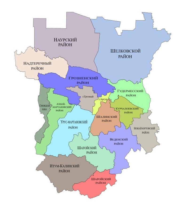 Карта Чеченской Республики