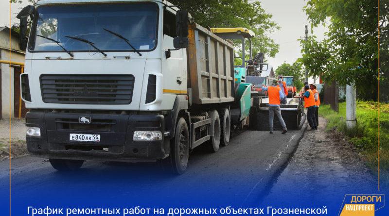 График работ в рамках реализации нацпроекта на дорожной сети Грозненской городской агломерации на 1 — 3 июня 2020г.